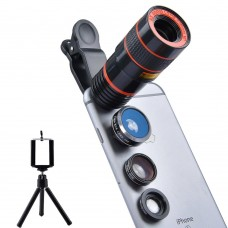 "Camera addon for smartphone ""4 in 1"" 8x+Fisheye+Wide Angle + Macro"